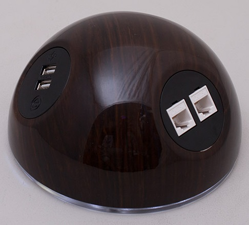 Pluto Desk Top Power Module - Dark Wood Effect
