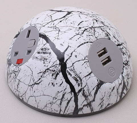 Pluto Desk Top Power Module - Black Marble White