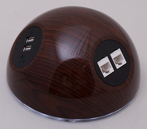 Pluto Desk Top Power Module - Medium Wood Effect