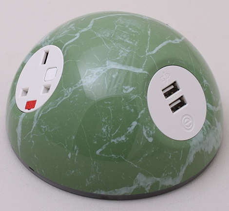 Pluto Desk Top Power Module - White Marble Green