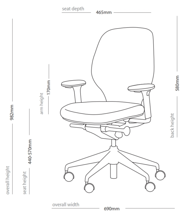 Ara Task Chair Dimensions