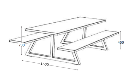 Nevada Bench Table Dimensions