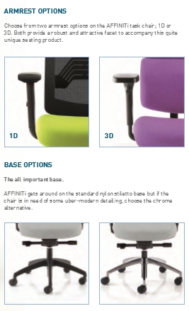 Affiniti Mesh Task Chair Armrest/Base Options