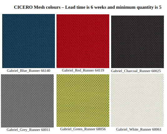 Cicero Meshback Chair - Additional Mesh Colours