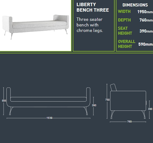 Liberty Bench Soft  Seating Models_Dimensions