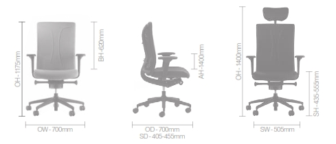 Agitus Task Chair Dimensions