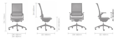 Ecoflex Task Chair Dimensions