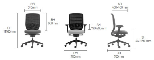 Evolve Task Chair Dimensions