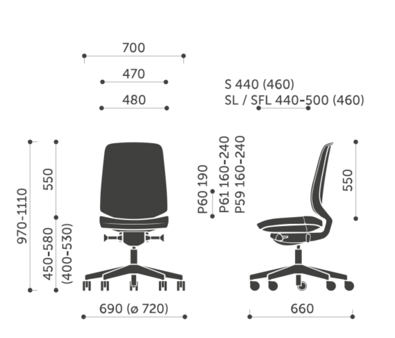 LightUp Task Chair Dimensions