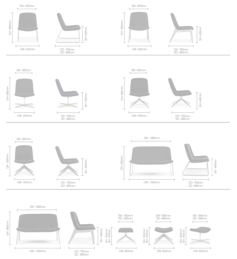 Herbie Soft Seating Dimensions