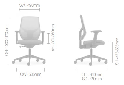Meteor Mesh Task Chair Dimensions