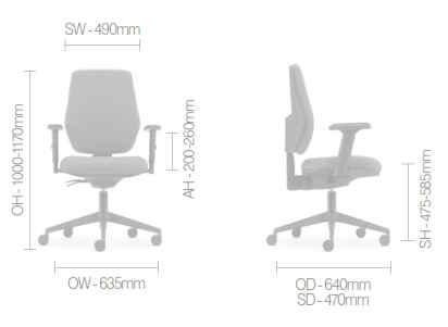 Meteor Task Chair Dimensions