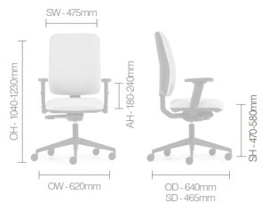 Pluto Plus Task Chair Dimensions