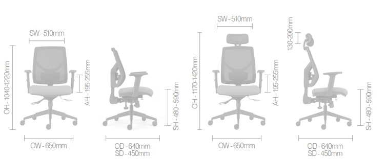 Zeus Task Chair Dimensions