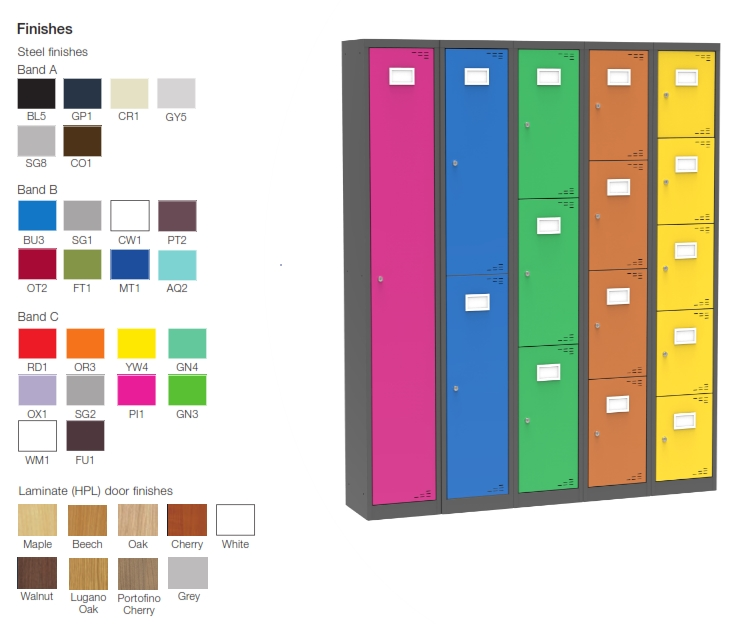 Everyday Lockers Colour Finishes