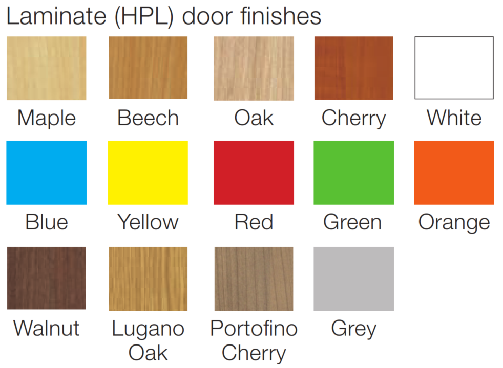 Evolution Lockers Laminate Door Finish Colours